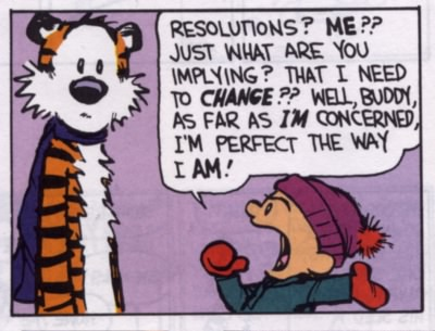 Calvin and Hobbes on New Year's resolutions
