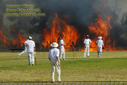 playing cricket while brushfire rages